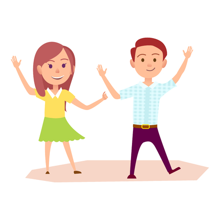 Girl and Boy Raising Their Hands Up Illustration