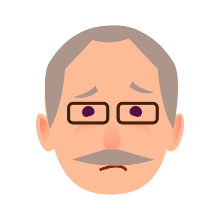 Sad Old Man in Glasses Face Flat Vector Icon