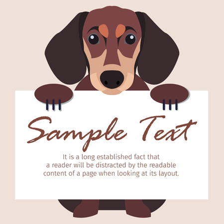 Dachshund with Signboard Illustration
