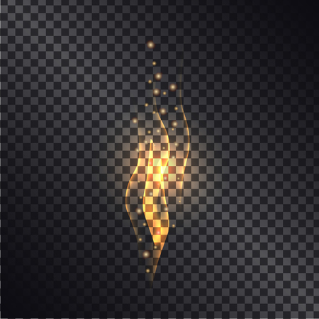 Burning Bright Flame Realistic Vector Effect Çizim