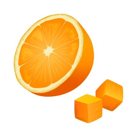De helft van Oranje met twee kubussen geïsoleerde illustratie Stockfoto - 86476476