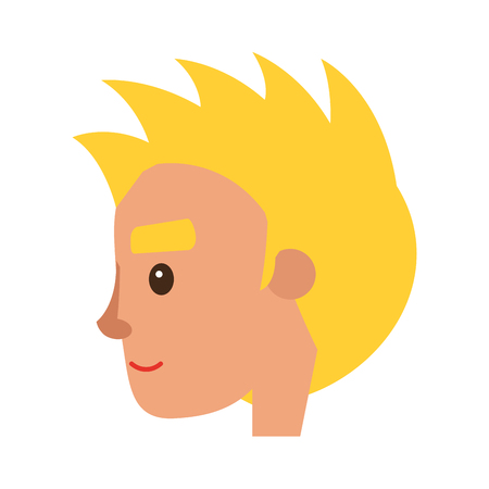 Smiling Blond Man Character Face Vector Icon