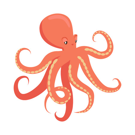Red Octopus Cartoon Flat Vector Illustration Ilustracja