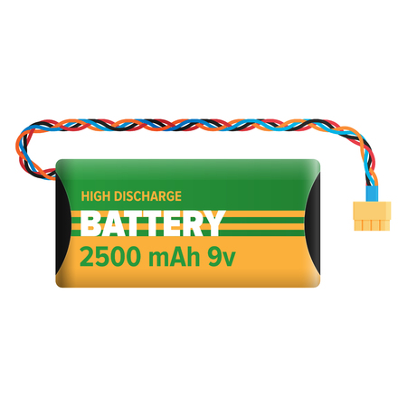Powerful Charging Battery Isolated Illustration Çizim