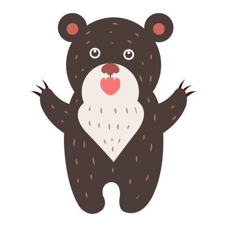 Cute Bear Cartoon flache Vektor Aufkleber oder Symbol Standard-Bild - 86476500