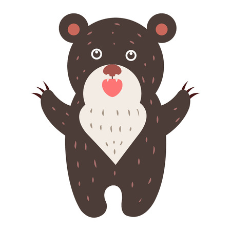 Cute Bear Cartoon Flat Vector Sticker or Icon Illustration