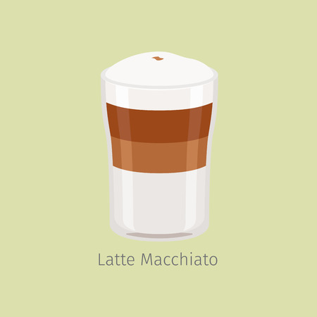 Glass Cup of Layered Latte Macchiato Flat Vector Illustration
