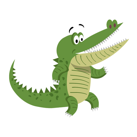 Cartoon Crocodile Standing with Wide Open Mouth