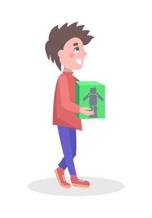Jongen kopen Robot Toy in winkel platte Vector Icon Stock Illustratie