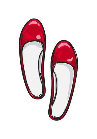 Red Ballerina Flat Shoes Isolated Illustration Stock Vector - 86476512