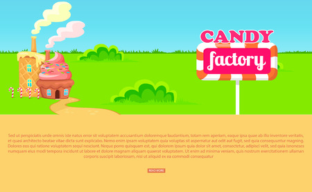 Small Cartoon Candy Factory on Wide Green Meadow Illustration