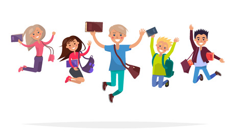 Group of Jumping Students Isolated Illustration