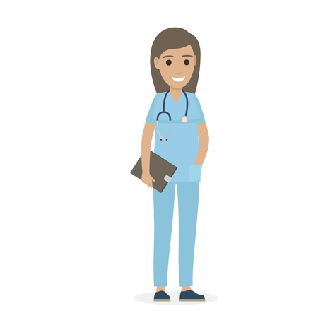 Joyful Physician with Stethoscope and Black Tablet