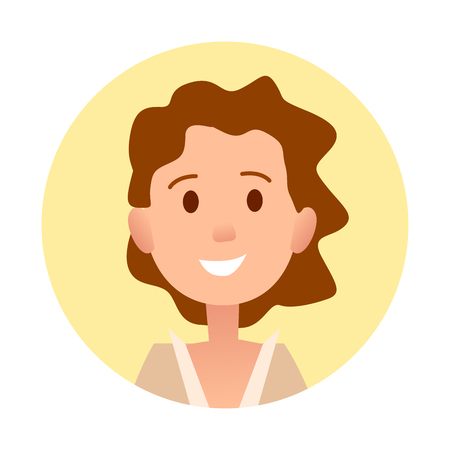 brown haired girl: Brown-haired Curly Girl Smiles Close-up Portrait