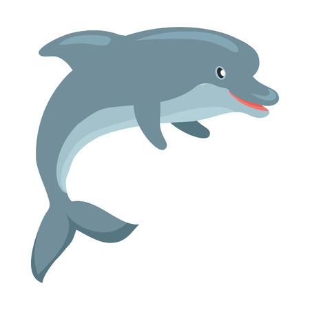 돌고래 만화 플랫 벡터 일러스트 레이션
