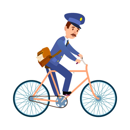 Postman on Bike Delivering Mail Cartoon Vector