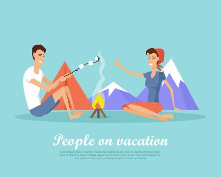 Personnes en vacances Design plat Vector Web bannière Banque d'images - 86476537
