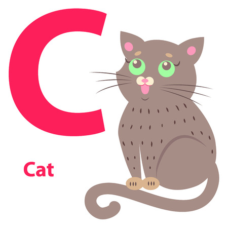 Alphabet Illustration for Letter C with Cute Cat Иллюстрация