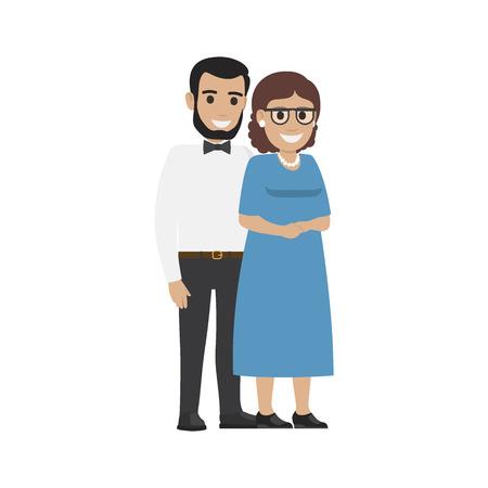 결혼 한 중년 부부 평균 가족 벡터