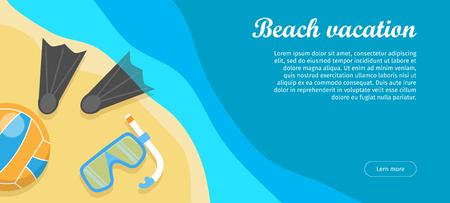 Beach Vacation Flat Design Vector Web Banner
