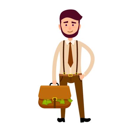 Bisnessman with Bag Full of Money Illustration Illustration