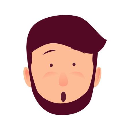 놀란 젊은 남자 장미 빛 얼굴 플랫 벡터 아이콘