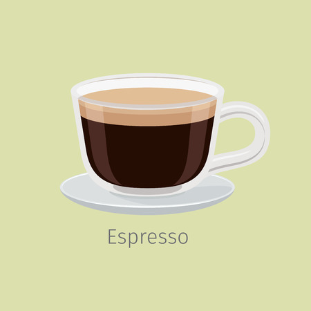 Glass Cup on Saucer with Espresso Flat Vector