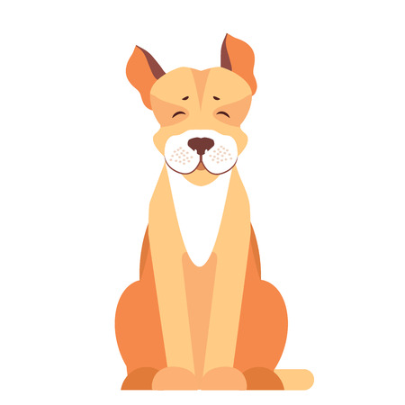 Cute Pit Bull Dog Cartoon Flat Vector Icon