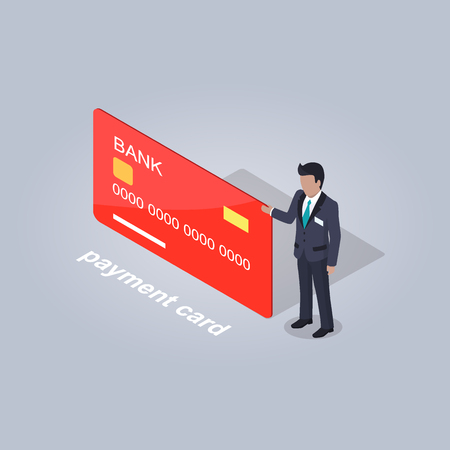 Bank Payment Card and Businessman Illustration