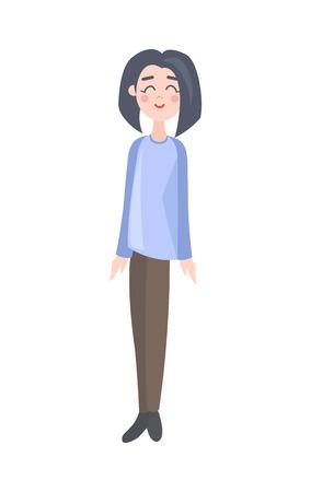 Happy Woman Cartoon Character Vector Icon