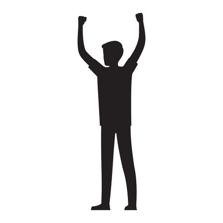 L'uomo alza le mani sull'illustrazione sagoma Archivio Fotografico - 86476565