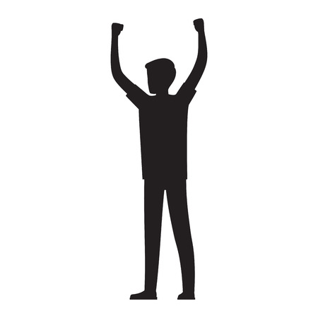 Man Raises His Hands Up Silhouette Illustration Illustration