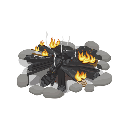 Bois brûlé sombre avec une faible flamme Banque d'images - 86476568