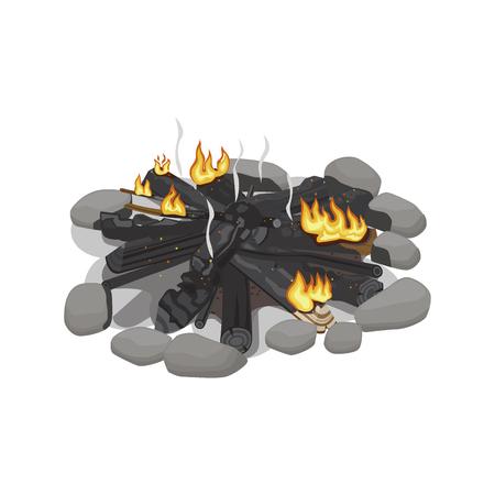 Dark Burnt Firewood with Weak Flame