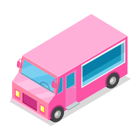 Big Streetfood Pink Truck Isolated Illustration