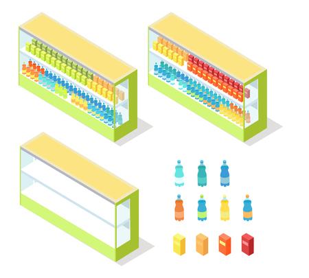 Drinks in Groceries Showcase Isometric Vector Иллюстрация