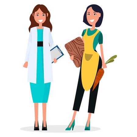 女医と白で隔離の主婦  イラスト・ベクター素材