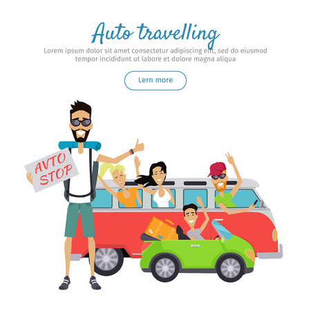 Auto Traveling Flat Design Vector Web Banner