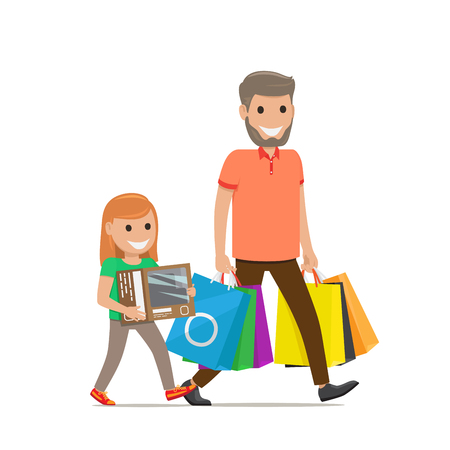 girl laptop: Father and Daughter Family Shopping Illustration