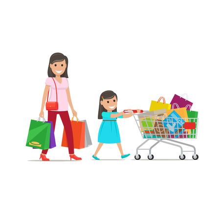 mujer en el supermercado: Family out on Shopping Illustration