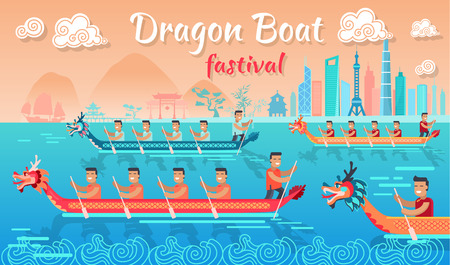 Dragon Boat Festival in China Promotion Poster Vectores