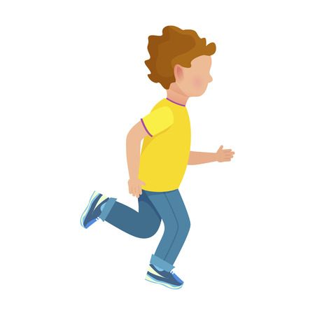 Faceless Young Boy Runs Isolated Illustration