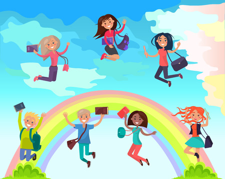 Happy Students on Summer Holidays Vector Concept Illusztráció