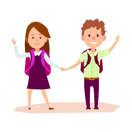 Schoolgirl and Schoolboy Standing and Waving Hands