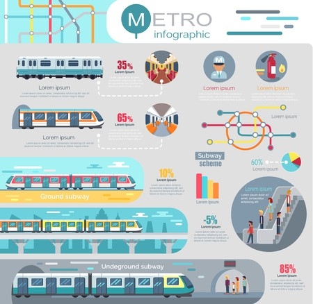Metro Infographic with Statistics and Schemes