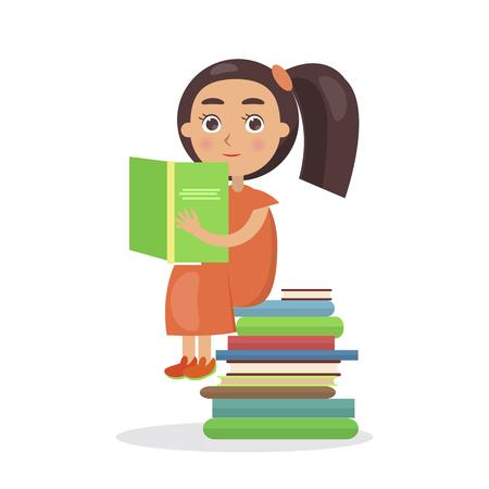 開いた教科書ベクトルとオレンジのドレスで女の子