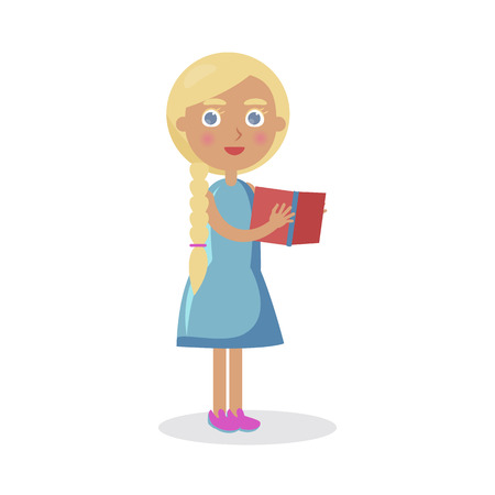 Blond Girl with Blue Eyes Holds Open Book Vector