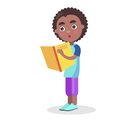 African Smiling Boy with Textbook Stands and Reads Illustration