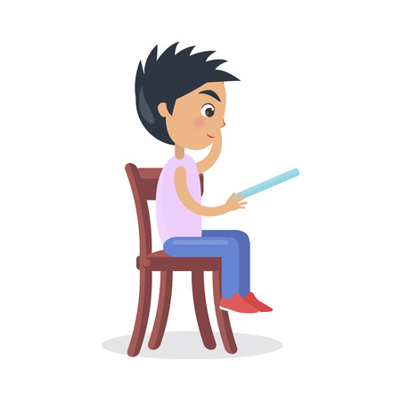 Profile of Boy Sitting on Chair, Read Fairy Tale