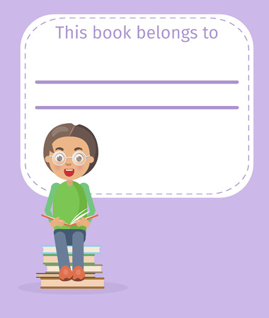Place for Book Owner Name and Boy Illustration 向量圖像
